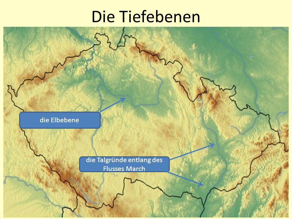 die Elbebene die Talgründe entlang des Flusses March Die Tiefebenen