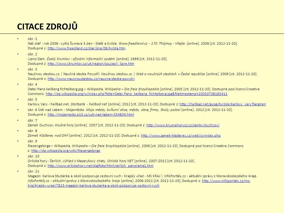 CITACE ZDROJŮ obr. 1 Náš diář - rok 2006 - cyklo Šumava 5.den - Slatě a Kvilda. Www.freedland.cz - 170. Thájmsy - Vítejte [online]. 2006 [cit. 2012-11