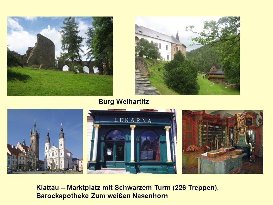 Burg Welhartitz Klattau – Marktplatz mit Schwarzem Turm (226 Treppen), Barockapotheke Zum weißen Nasenhorn