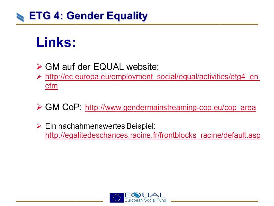 European Social Fund ETG 4: Living Document
