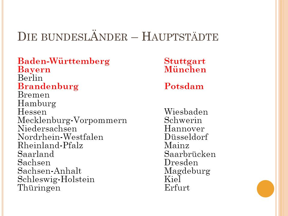 D IE BUNDESL Ä NDER – H AUPTSTÄDTE Baden-Württemberg Stuttgart BayernMünchen Berlin BrandenburgPotsdam Bremen Hamburg HessenWiesbaden Mecklenburg-Vorp