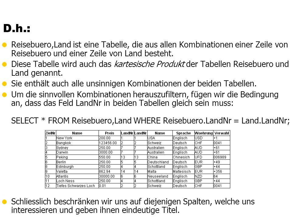 D.h.: Reisebuero,Land ist eine Tabelle, die aus allen Kombinationen einer Zeile von Reisebuero und einer Zeile von Land besteht. Diese Tabelle wird au