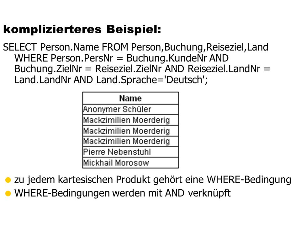 komplizierteres Beispiel: SELECT Person.Name FROM Person,Buchung,Reiseziel,Land WHERE Person.PersNr = Buchung.KundeNr AND Buchung.ZielNr = Reiseziel.Z