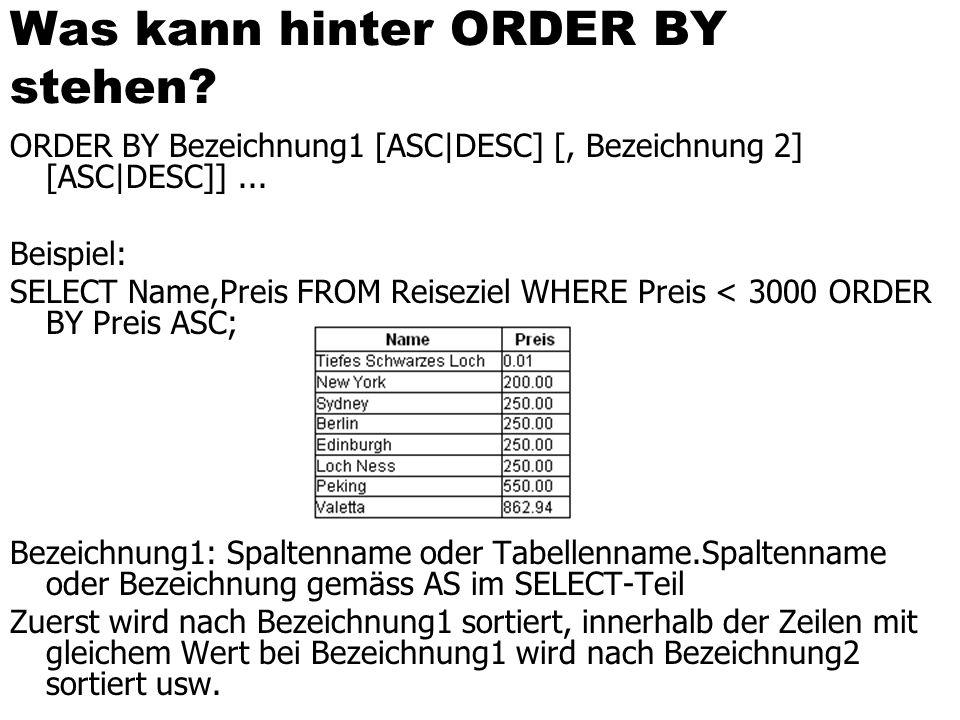 Was kann hinter ORDER BY stehen? ORDER BY Bezeichnung1 [ASC|DESC] [, Bezeichnung 2] [ASC|DESC]]... Beispiel: SELECT Name,Preis FROM Reiseziel WHERE Pr