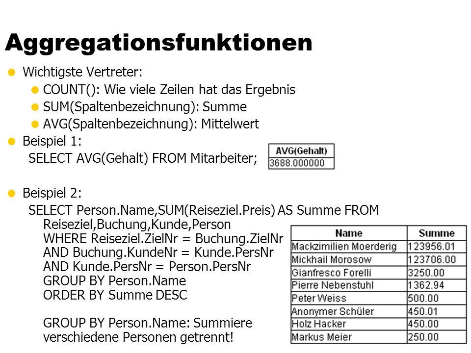Aggregationsfunktionen Wichtigste Vertreter: COUNT(): Wie viele Zeilen hat das Ergebnis SUM(Spaltenbezeichnung): Summe AVG(Spaltenbezeichnung): Mittel