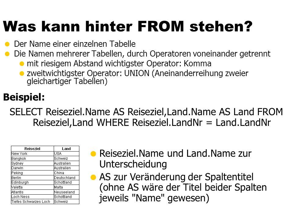 Was kann hinter FROM stehen? Der Name einer einzelnen Tabelle Die Namen mehrerer Tabellen, durch Operatoren voneinander getrennt mit riesigem Abstand
