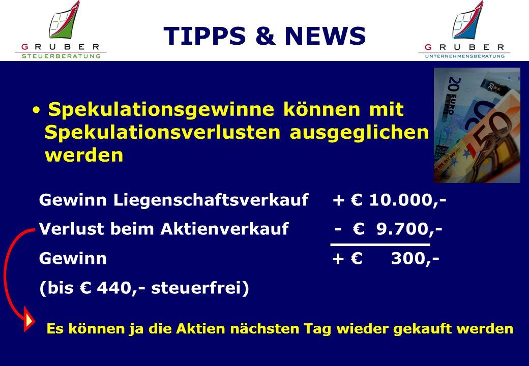 TIPPS & NEWS Spekulationsgewinne können mit Spekulationsverlusten ausgeglichen werden Gewinn Liegenschaftsverkauf + 10.000,- Verlust beim Aktienverkauf - 9.700,- Gewinn + 300,- (bis 440,- steuerfrei) Es können ja die Aktien nächsten Tag wieder gekauft werden