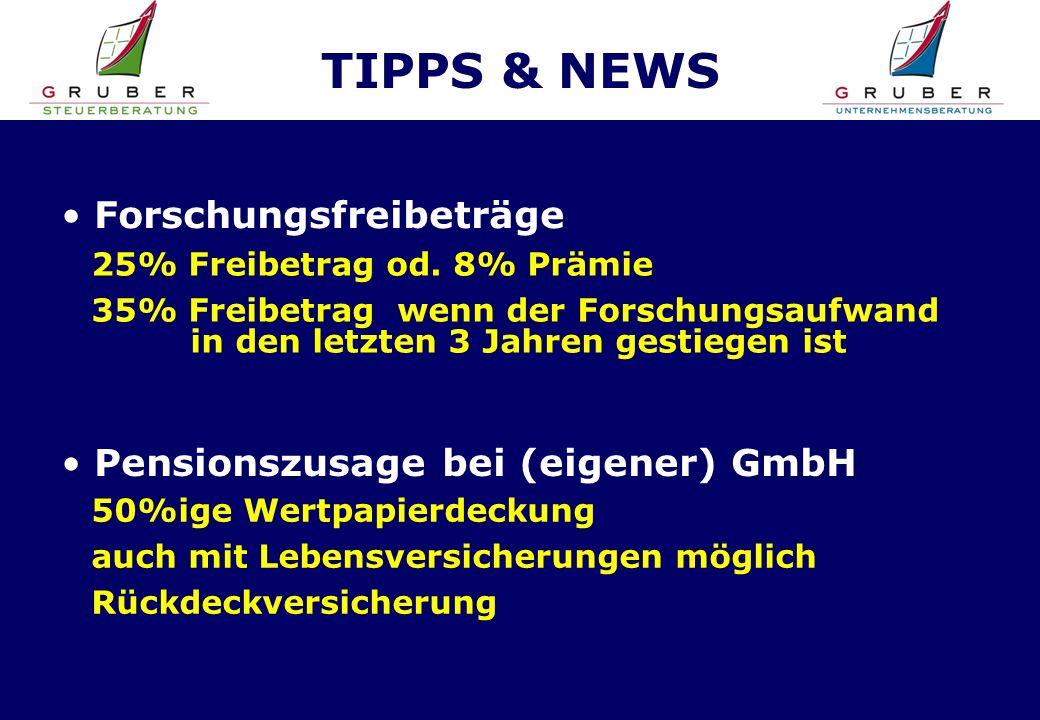 TIPPS & NEWS Forschungsfreibeträge 25% Freibetrag od.