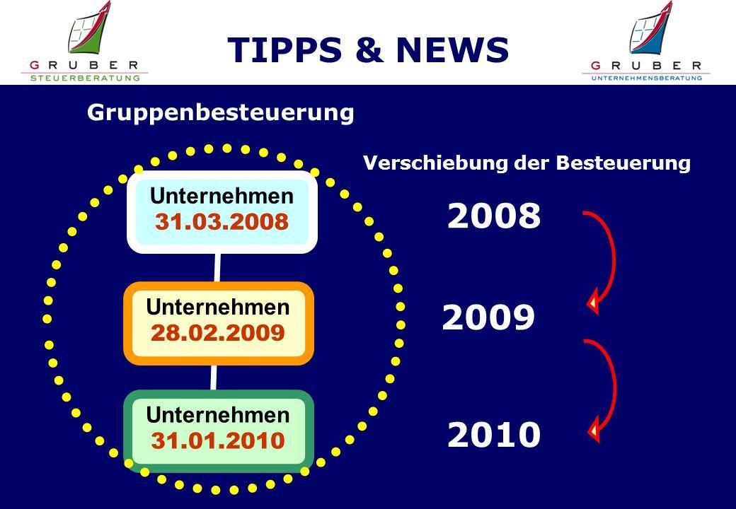 TIPPS & NEWS Unternehmen 31.01.2010 Unternehmen 28.02.2009 Unternehmen 31.03.2008 Gruppenbesteuerung 2010 2009 2008 Verschiebung der Besteuerung