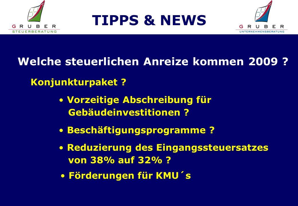 TIPPS & NEWS Welche steuerlichen Anreize kommen 2009 .