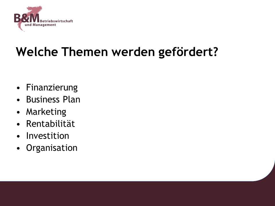 Welche Themen werden gefördert? Finanzierung Business Plan Marketing Rentabilität Investition Organisation