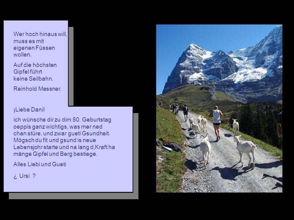 Wer hoch hinaus will, muss es mit eigenen Füssen wollen. Auf die höchsten Gipfel führt keine Seilbahn. Reinhold Messner. ¡Liebe Dani! ich wünsche dir