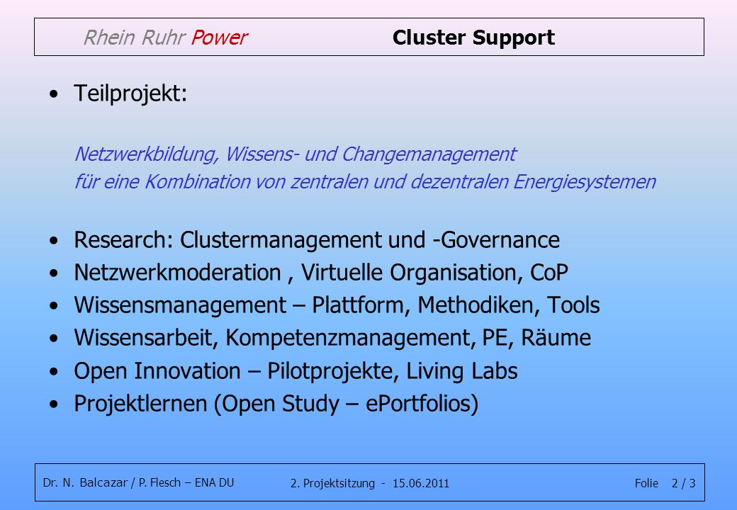Folie 2 / 32. Projektsitzung - 15.06.2011 Dr. N. Balcazar / P. Flesch – ENA DU Rhein Ruhr Power Cluster Support Teilprojekt: Netzwerkbildung, Wissens-
