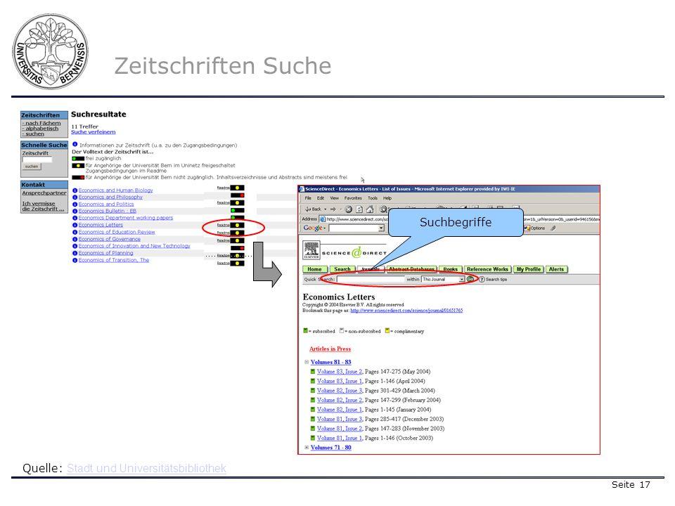 Seite 17 Zeitschriften Suche Quelle: Stadt und Universitätsbibliothek Stadt und Universitätsbibliothek Suchbegriffe