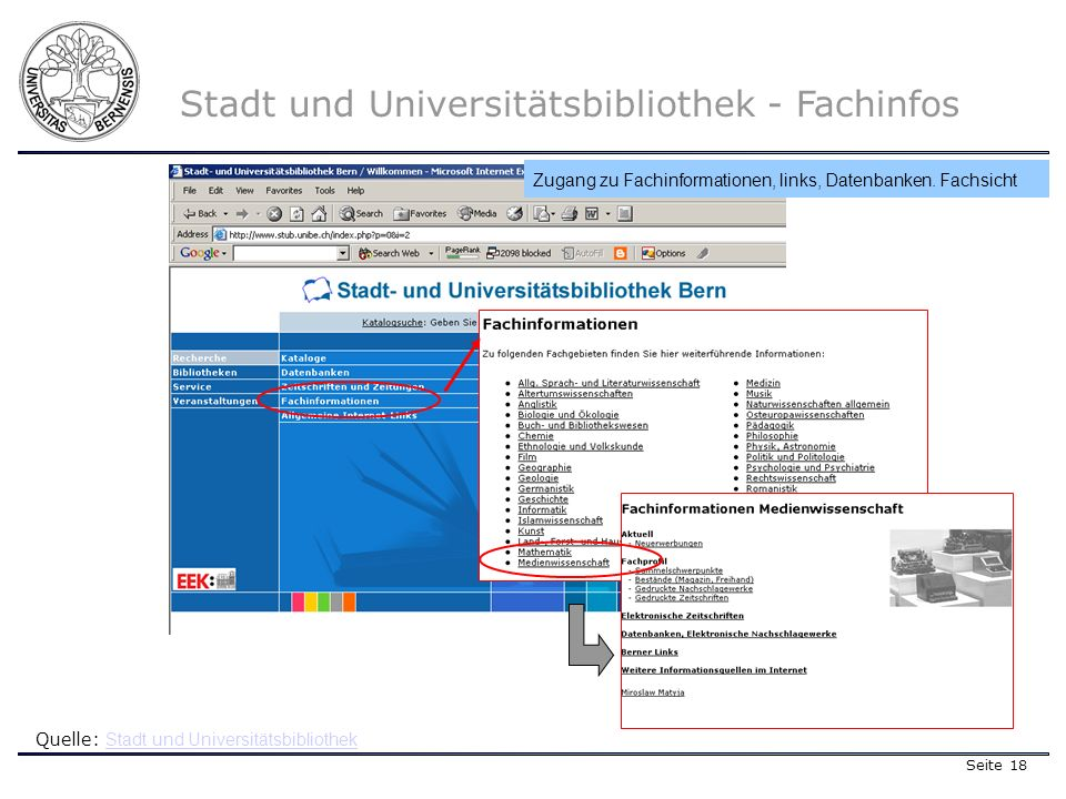 Seite 18 Stadt und Universitätsbibliothek - Fachinfos Quelle: Stadt und Universitätsbibliothek Stadt und Universitätsbibliothek Zugang zu Fachinformationen, links, Datenbanken.