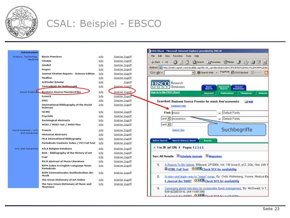 Seite 23 CSAL: Beispiel - EBSCO Suchbegriffe