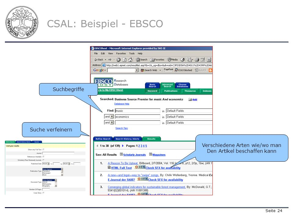 Seite 24 CSAL: Beispiel - EBSCO Verschiedene Arten wie/wo man Den Artikel beschaffen kann Suche verfeinern Suchbegriffe