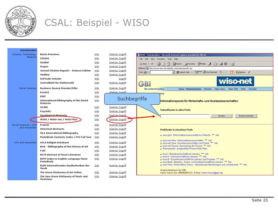 Seite 25 CSAL: Beispiel - WISO Suchbegriffe