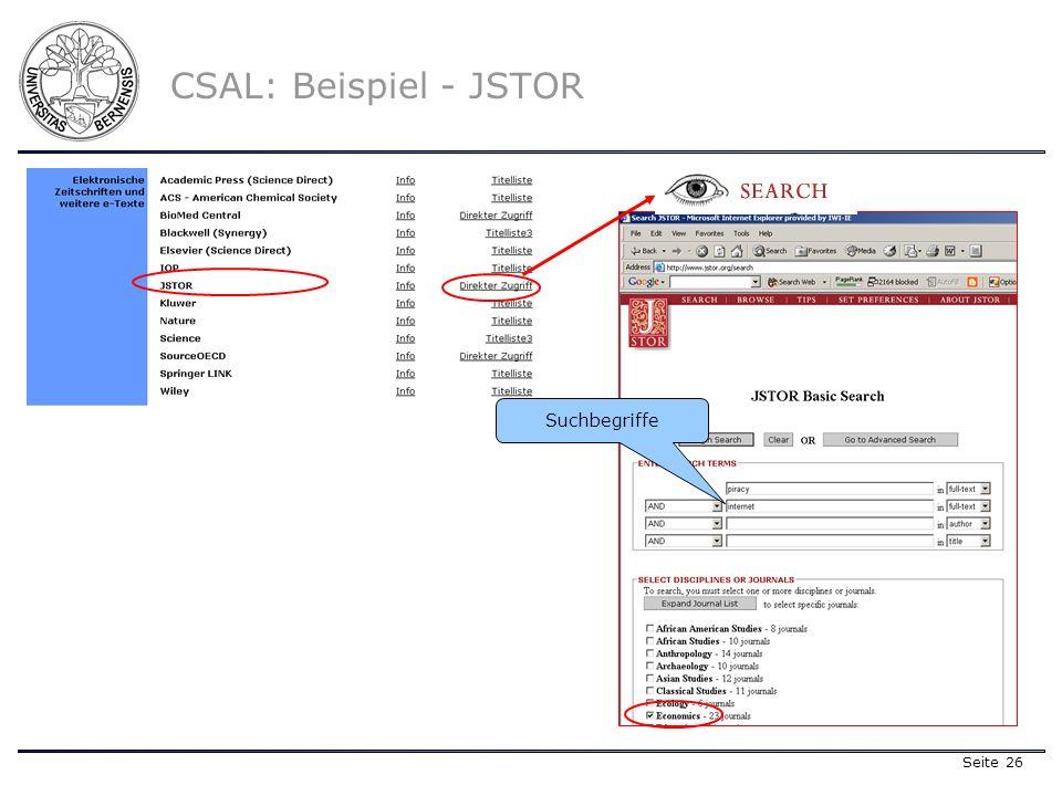 Seite 26 CSAL: Beispiel - JSTOR Suchbegriffe