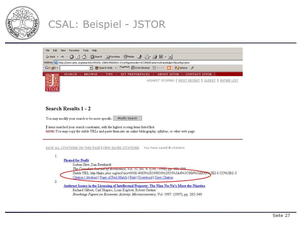 Seite 27 CSAL: Beispiel - JSTOR