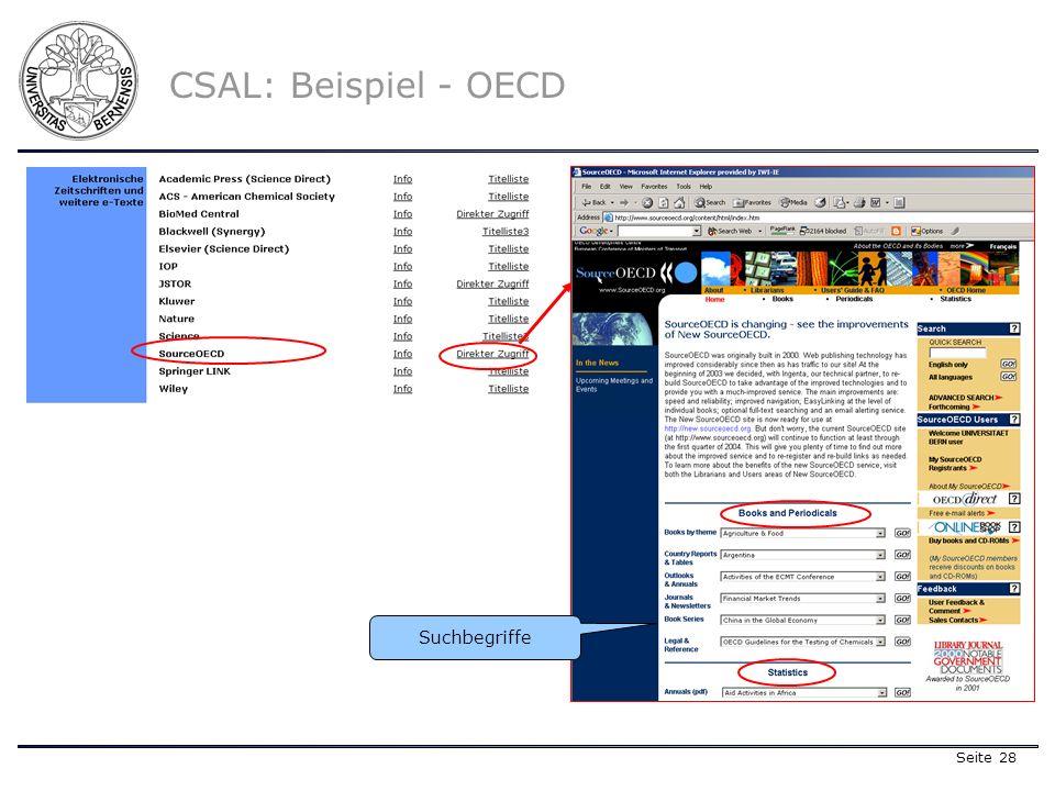 Seite 28 CSAL: Beispiel - OECD Suchbegriffe