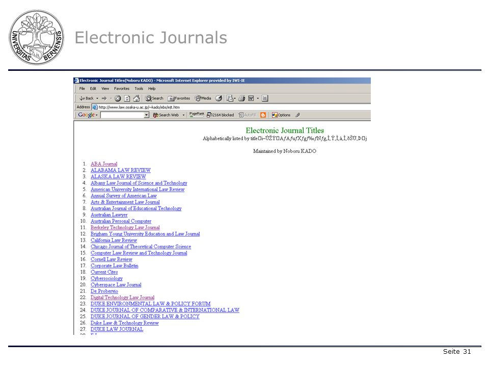 Seite 31 Electronic Journals