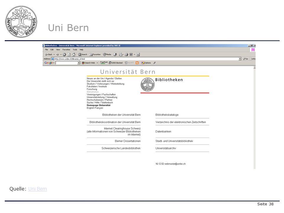 Seite 38 Quelle: Uni Bern Uni Bern