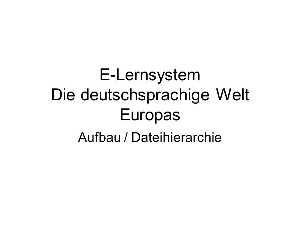 E-Lernsystem Die deutschsprachige Welt Europas Aufbau / Dateihierarchie