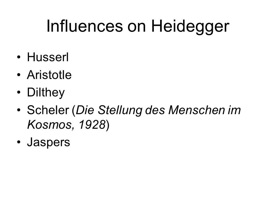 Influences on Heidegger Husserl Aristotle Dilthey Scheler (Die Stellung des Menschen im Kosmos, 1928) Jaspers