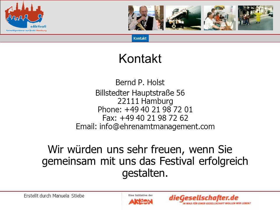 Erstellt durch Manuela Stiebe Kontakt Bernd P.