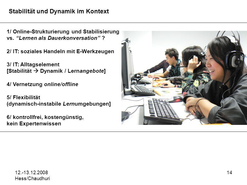 12.-13.12.2008 Hess/Chaudhuri 14 Stabilität und Dynamik im Kontext 1/ Online-Strukturierung und Stabilisierung vs. Lernen als Dauerkonversation ? 2/ I