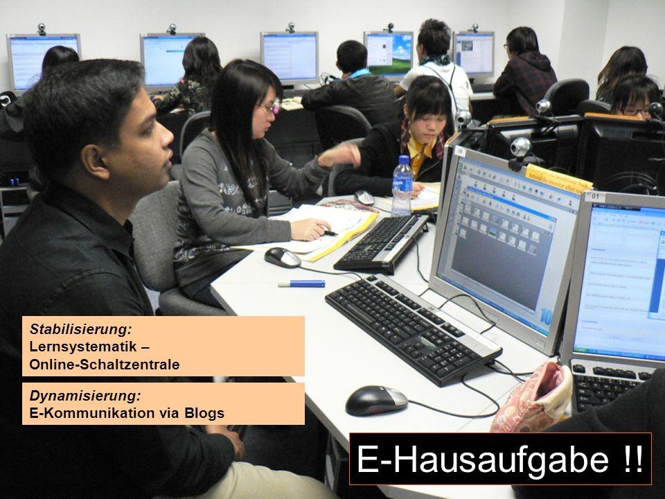 12.-13.12.2008 Hess/Chaudhuri 15 E-Hausaufgabe !! Stabilisierung: Lernsystematik – Online-Schaltzentrale Dynamisierung: E-Kommunikation via Blogs