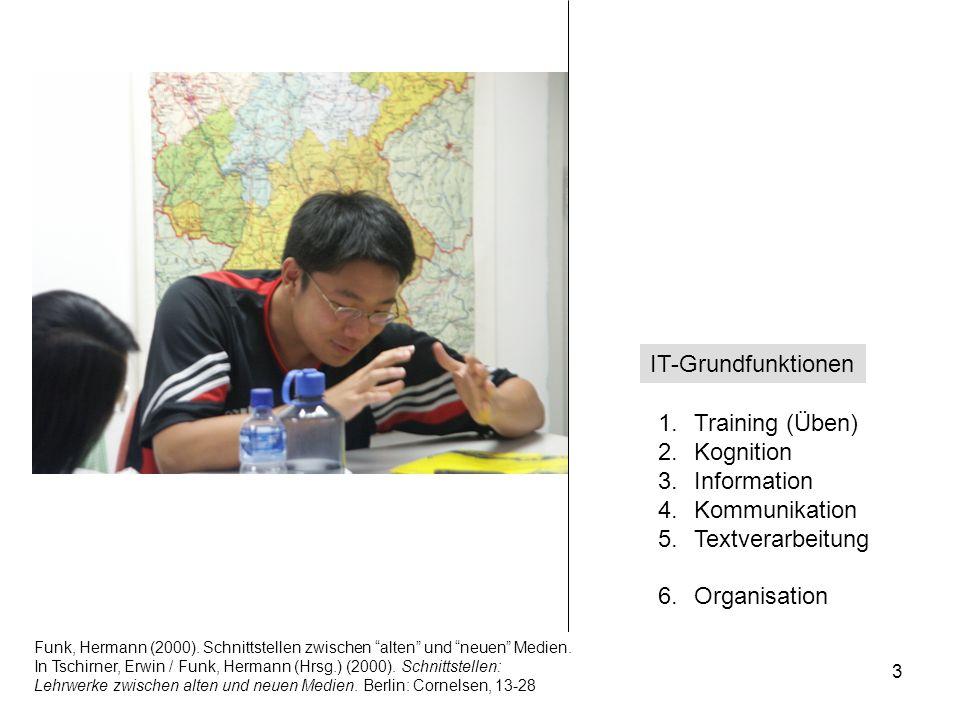 12.-13.12.2008 Hess/Chaudhuri 3 1.Training (Üben) 2.Kognition 3.Information 4.Kommunikation 5.Textverarbeitung 6.Organisation IT-Grundfunktionen Funk,