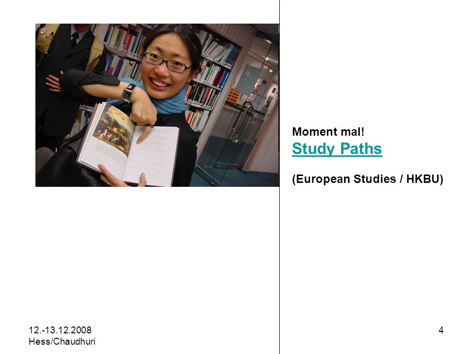 12.-13.12.2008 Hess/Chaudhuri 4 Moment mal! Study Paths (European Studies / HKBU)