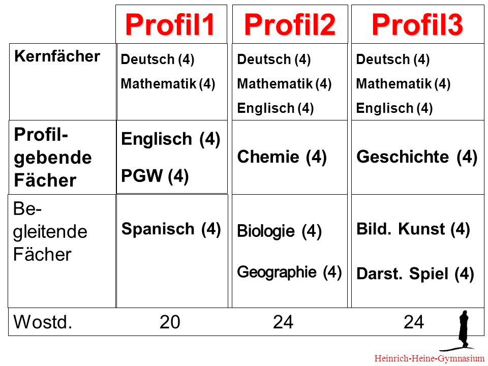 Profil1Profil2Profil3 Profil- gebende Fächer Englisch (4) PGW (4) Chemie (4)Geschichte (4) Be- gleitende Fächer Spanisch (4) Bild. Kunst (4) Darst. Sp