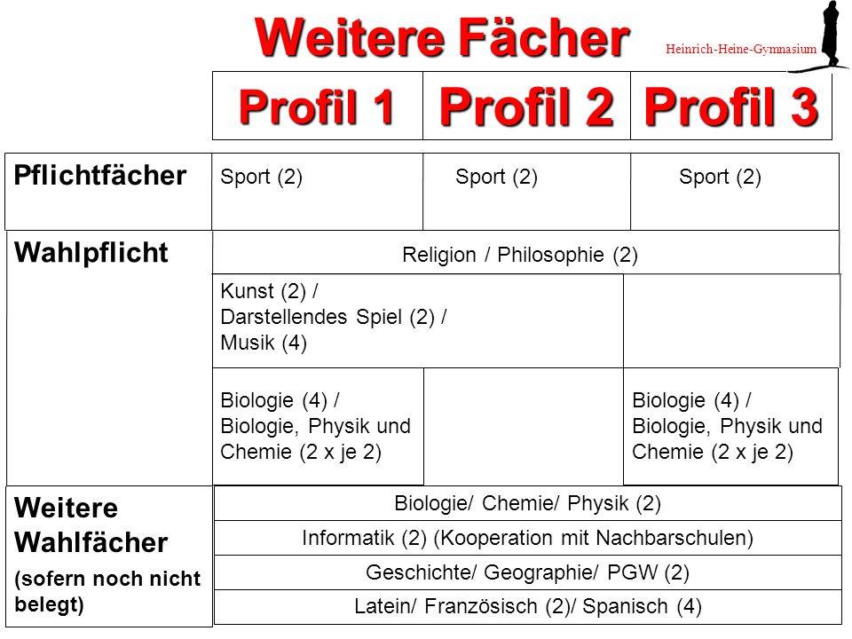 Geschichte/ Geographie/ PGW (2) Profil 1 Profil 2 Profil 3 Wahlpflicht Religion / Philosophie (2) Pflichtfächer Weitere Wahlfächer (sofern noch nicht