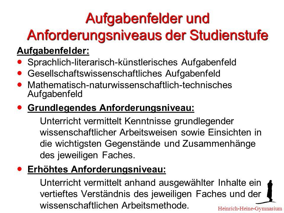 Aufgabenfelder und Anforderungsniveaus der Studienstufe Aufgabenfelder: Sprachlich-literarisch-künstlerisches Aufgabenfeld Gesellschaftswissenschaftli