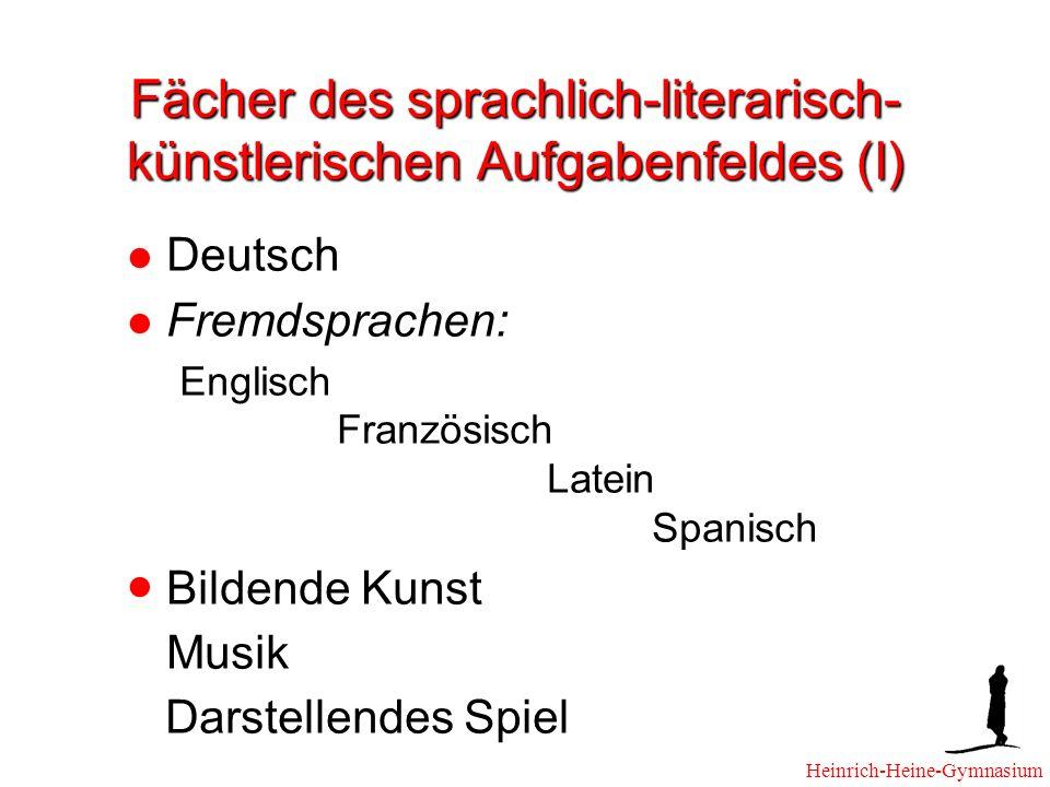 Fächer des sprachlich-literarisch- künstlerischen Aufgabenfeldes (I) Deutsch Fremdsprachen: Englisch Französisch Latein Spanisch Bildende Kunst Musik