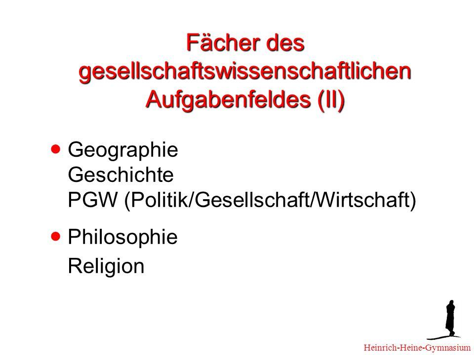 Fächer des gesellschaftswissenschaftlichen Aufgabenfeldes (II) Geographie Geschichte PGW (Politik/Gesellschaft/Wirtschaft) Philosophie Religion Heinrich-Heine-Gymnasium