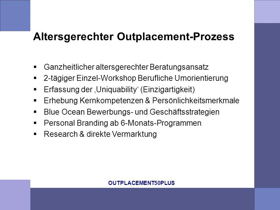 OUTPLACEMENT50PLUS Altersgerechter Outplacement-Prozess Ganzheitlicher altersgerechter Beratungsansatz 2-tägiger Einzel-Workshop Berufliche Umorientie