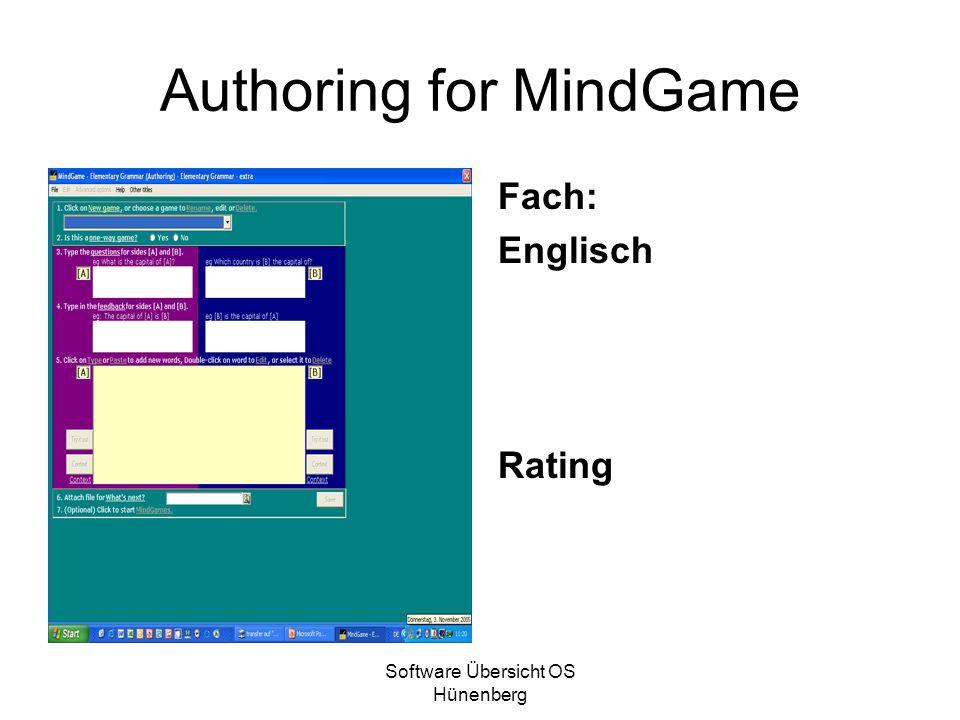 Software Übersicht OS Hünenberg Authoring for MindGame Fach: Englisch Rating