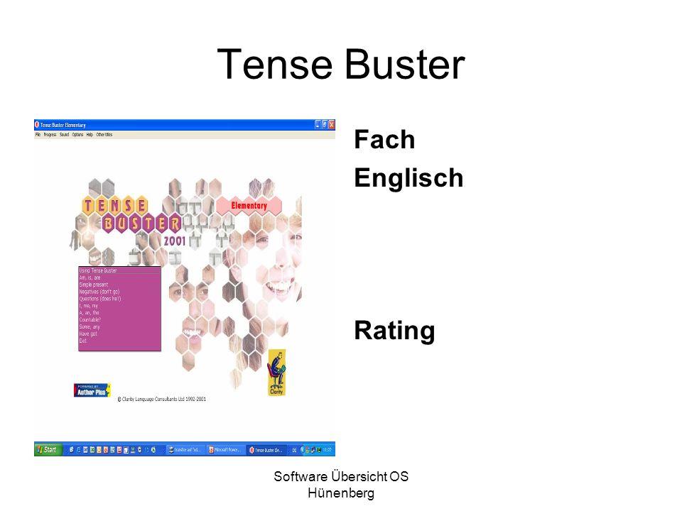 Software Übersicht OS Hünenberg Tense Buster Fach Englisch Rating