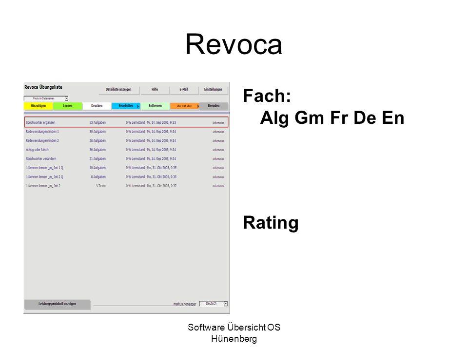 Software Übersicht OS Hünenberg Revoca Fach: Alg Gm Fr De En Rating