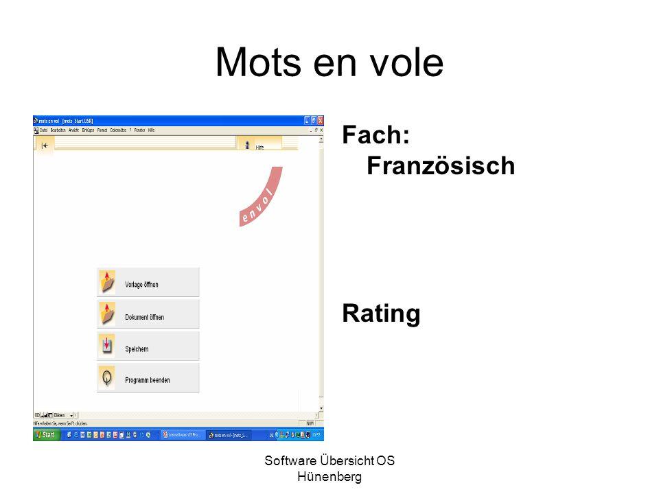 Software Übersicht OS Hünenberg Mots en vole Fach: Französisch Rating