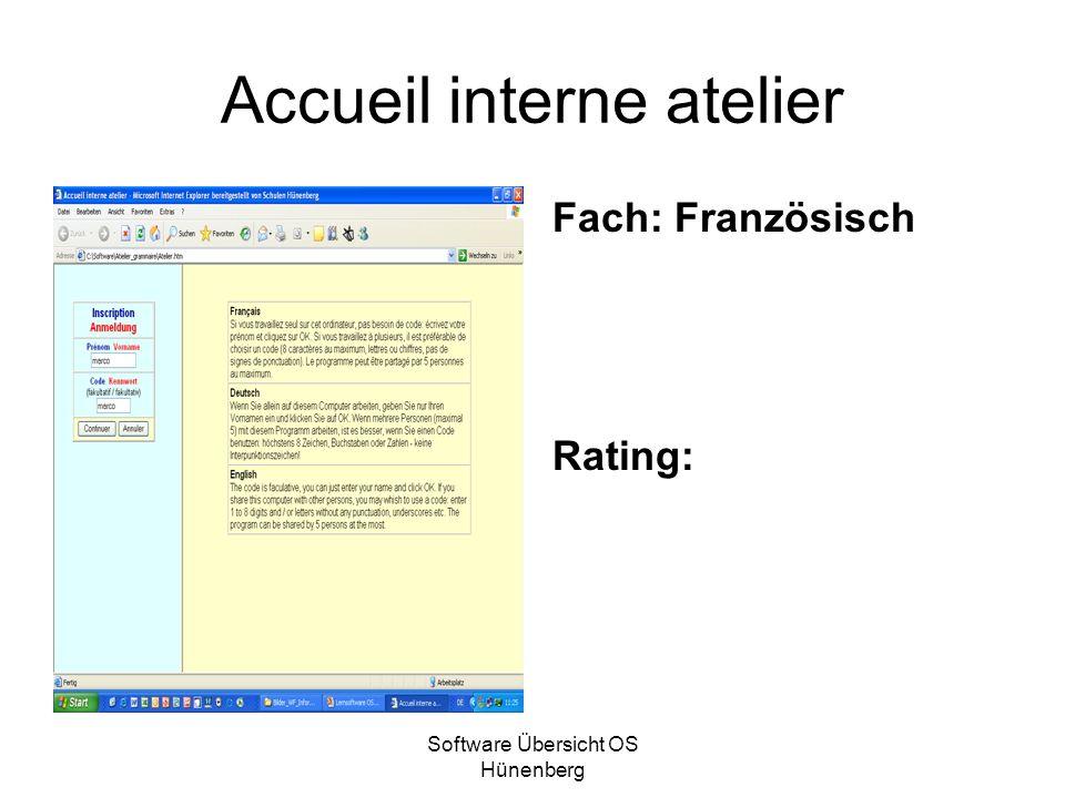 Software Übersicht OS Hünenberg Accueil interne atelier Fach: Französisch Rating: