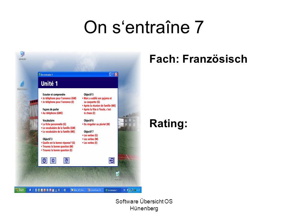 Software Übersicht OS Hünenberg On sentraîne 7 Fach: Französisch Rating: