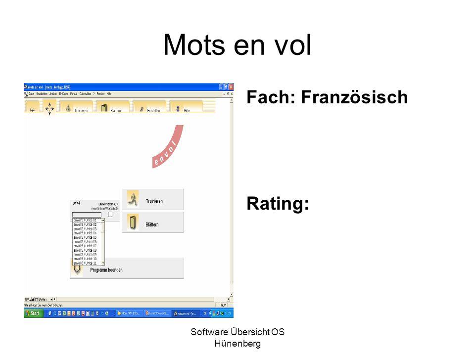 Software Übersicht OS Hünenberg Mots en vol Fach: Französisch Rating: