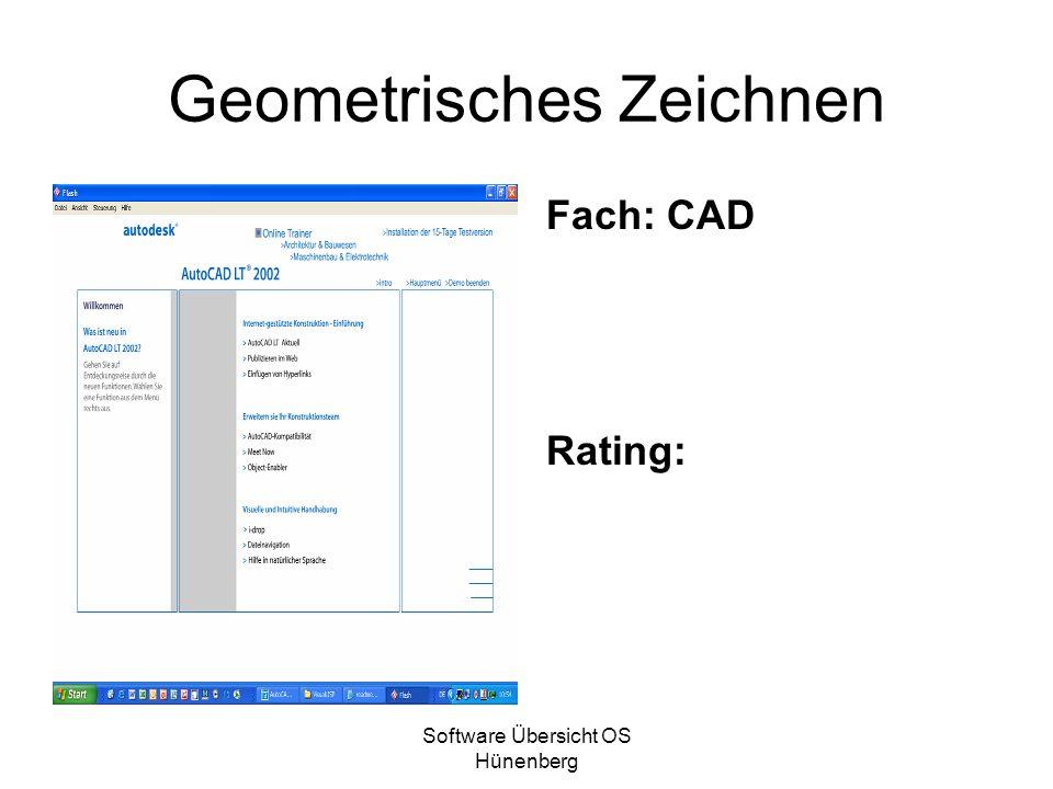 Software Übersicht OS Hünenberg Geometrisches Zeichnen Fach: CAD Rating: