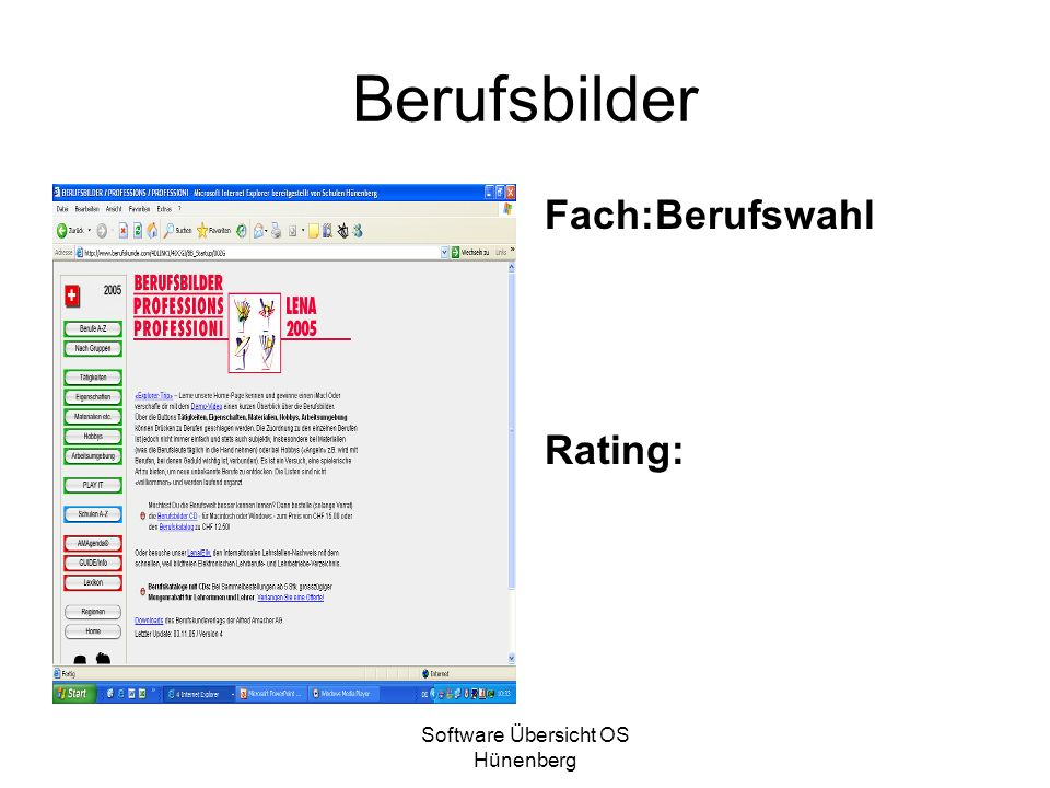 Software Übersicht OS Hünenberg Click on Englisch Fach Englisch Rating