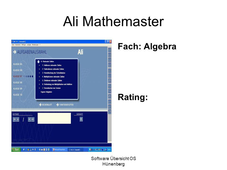 Software Übersicht OS Hünenberg Ali Mathemaster Fach: Algebra Rating: